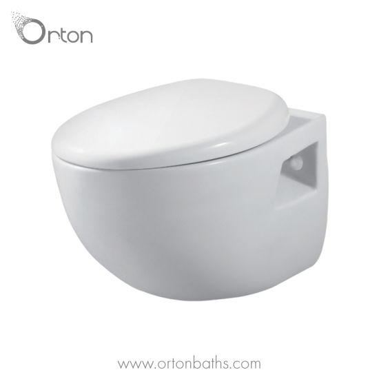 Round Wall Hung Toilet Bowl with Seat Cover