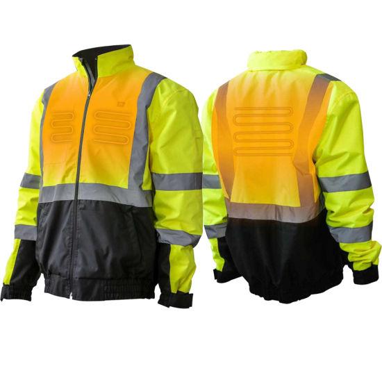 Heat Men's Flash Hivis Reflective Worker Safety Heated Jacket
