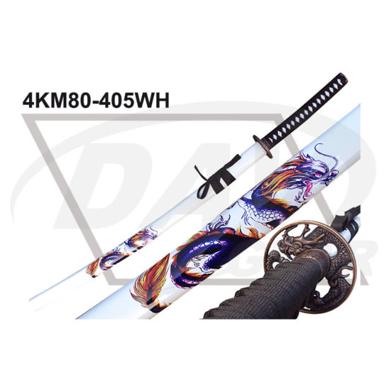 "40.55""Overall Wood Handle Katana with Carbon Steel Polished Blade: 4km100-405wh pictures & photos"