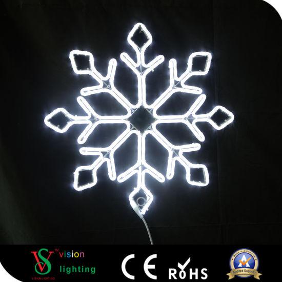 Holiday White LED Christmas Decoration Motif Rope Snowflake Light