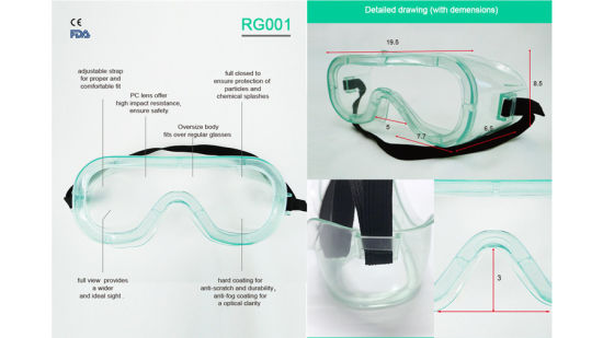Professional Transparent Medical and Industrial Use Protection Against Impact, Wind, Dust, Sand, Splash Disposable Safety Goggles