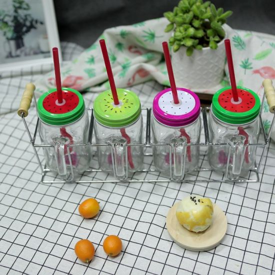 Wholesale High Quality Drinking Juice Fruit Salad Glass Mason Jar Four Sets with Metal Screw Lid and Handle