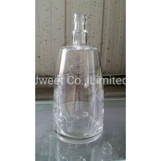 OEM Round Super Flint Glass Sand Blasting 1000ml Vodka Wine Glass Bottle