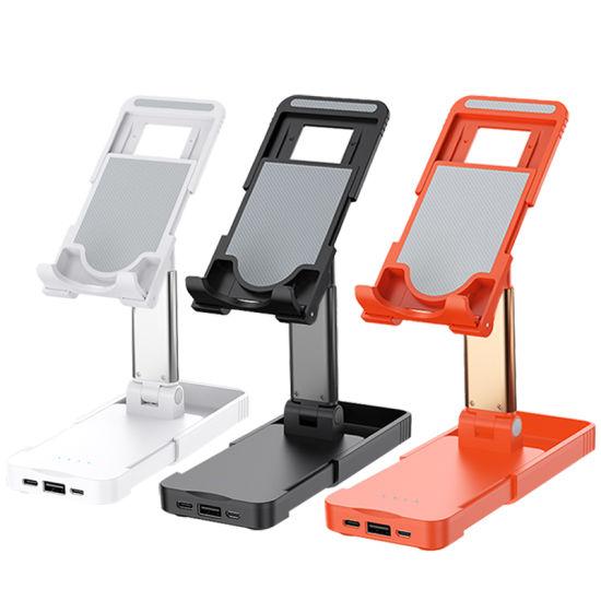 Universal Adjustable Desktop Telescopic Mobile Phone Stand with Power Bank