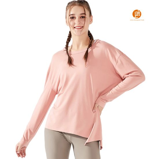 Shangyan Womens Athletic Crew Neck Long Sleeve Split Backless Workout Yoga Shirt Tops