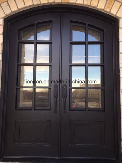 China Stumming Hand Forged Wrought Iron And Glass Entry Doors