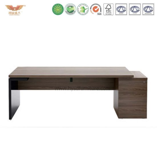 Manufacturer Direct Single Side Drawers Wooden Top Steel Frame Office Desk