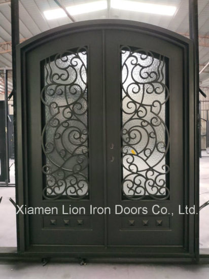 Square Top Wrought Iron Entry Security Door With Window Design