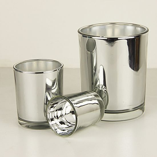 Hot Sell Electroplating Silver Glass Candle Holders for Home Decoration pictures & photos