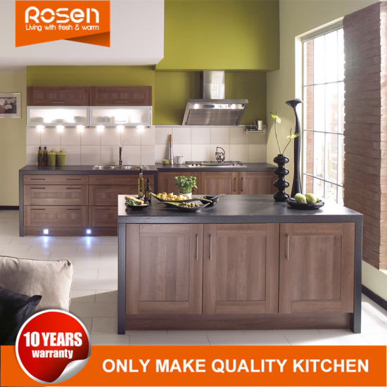 Kitchen Cabinets Furniture With PVC Finished Gray Colors Design