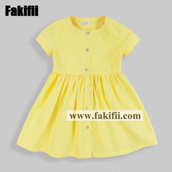 2019 Wholesale Girl Clothes Summer Kids/Baby/Infant Wear Yellow Cotton Children Dress
