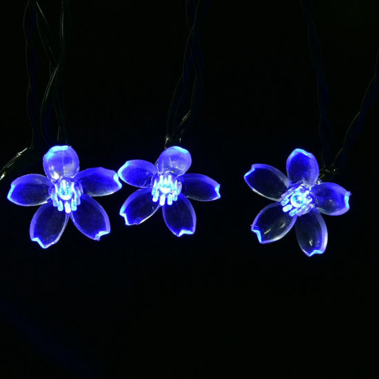 Peach Flower LED Solar Lamp Fairy String Light Outdoor Decoration Holiday Lights for Garden, Christmas Tree, Lawn, Landscape, 5-52m