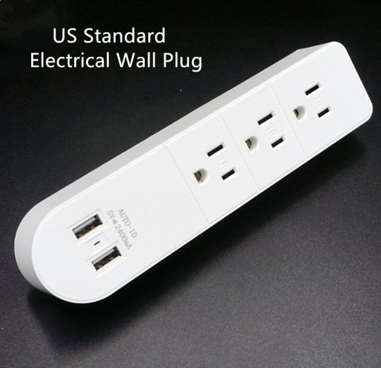 Customized 3 Way Outlet with USB Us Electrical Wall Plug Wall Adapter