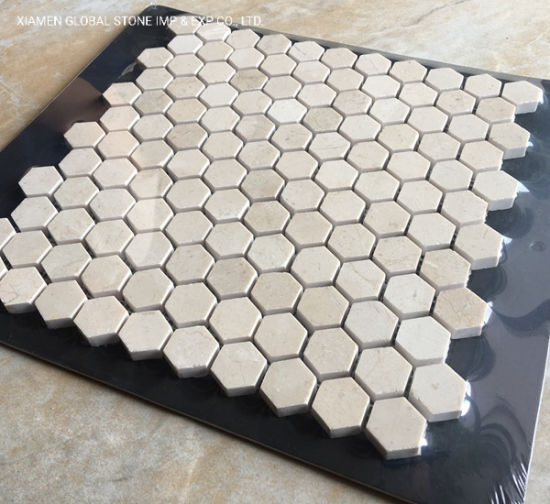 China Cream Marfil Marble Hexagon Small Particles Mosaic Tiles For Kitchen Bathroom Floor Wall Cladding China Cream Marfil Marble Hexagon Mosaic