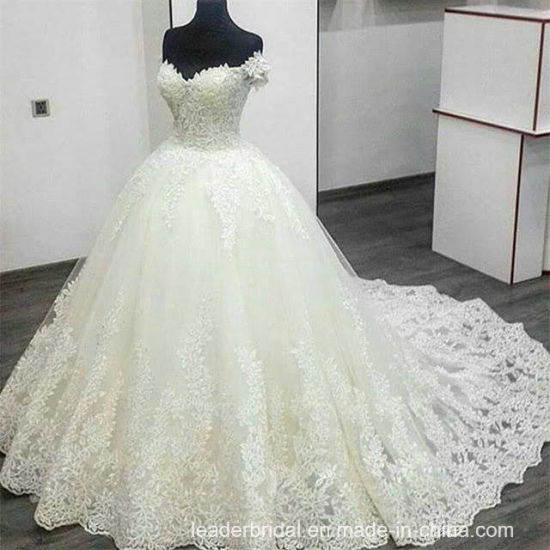 China Sweetheart Bridal Gowns Lace Leaves Off Shoulder Wedding