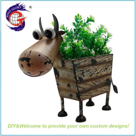 Wholesale Antique Metal Cow Flower Pot for Garden Ornament Planter