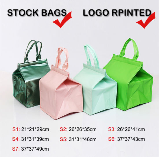 Promotional Stock Aluminum Foil Picnic Bag, Cake Food Packaging Ice Bag, PP Nonwoven Insulated Thermal Lunch Cooler Bags