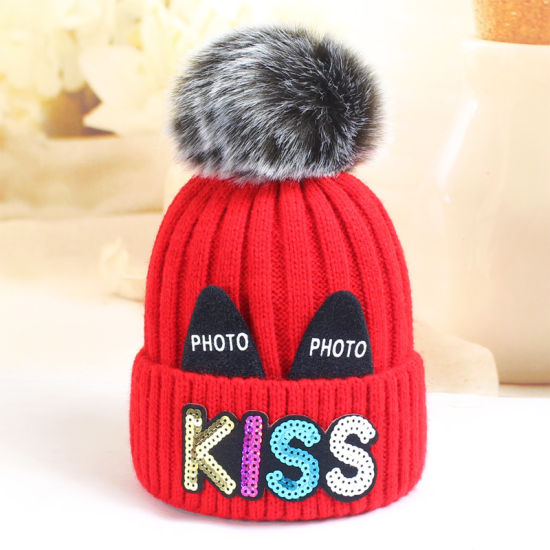 Fashion Children′ S Winter knitted Hat with Pompom pictures & photos