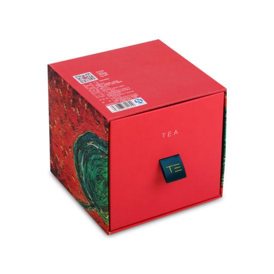 Custom Logo Hard Rigid Cardboard Promotional Embossed Red Matches Sleeve Sliding Box Gift Packaging Paper Drawer Box for Green Tea