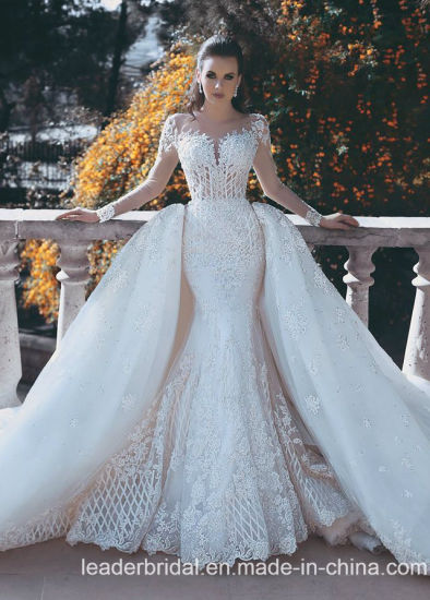 Long Sleeves Lace Bridal Dress Dismountable Train Wedding Ball Gowns E15119