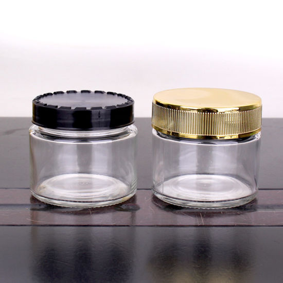 Customzied Glass Jar with Rose Gold Choldproof Lid