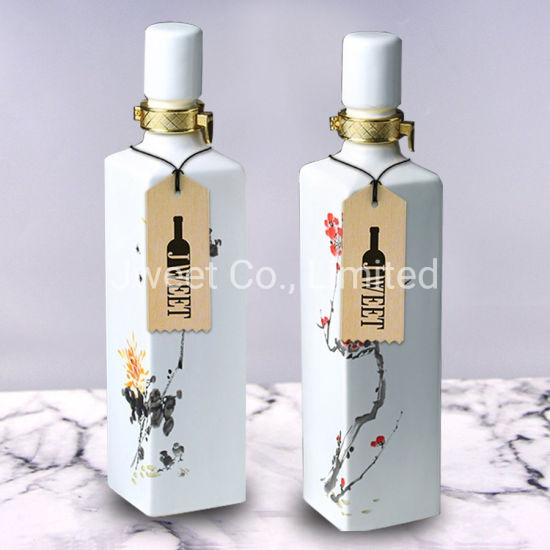 Decal Printing Hand Made Wine Ceramic Style Beverage Bottle