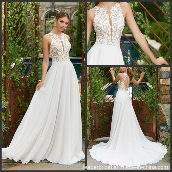 China A Line Bridal Gowns Nude Bodice Chiffon Beach Lace Wedding