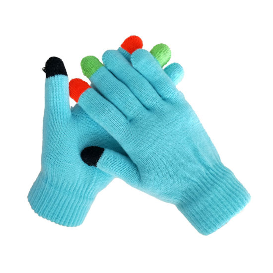 Colorful Touch Screen Fingers Acrylic Gloves Plain Style Wholesale