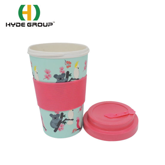 100% Biodegradable Reusable Australian Design Style 400ml Bamboo Fiber Cup with Bamboo Fiber Lid