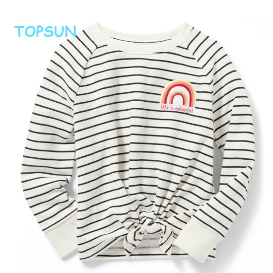 Children′s Stripe Round Neck Sweatshirts Girls Long Sleeve Embroidery Cotton Pullover Clothes pictures & photos