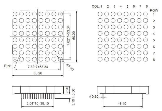 China 2 3 Inch 8X8 RGB LED DOT Matrix - China 2 3 Inch DOT