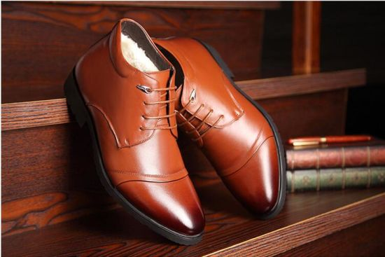 Men's Cotton Shoes, High Uppers, Men's Shoes, Leather Shoes, Leather Furry and Warm Tip Business Tide