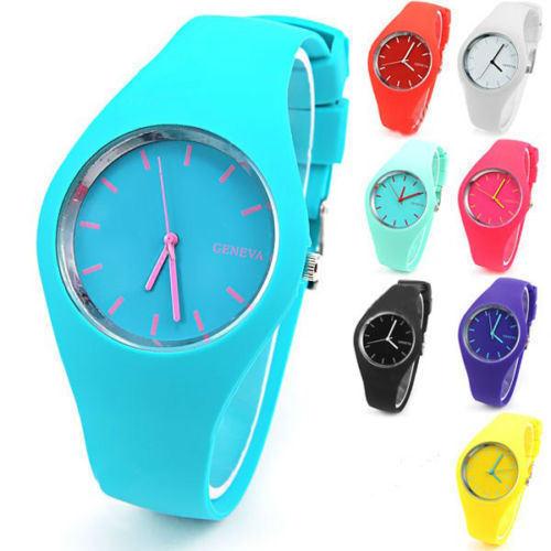 Wholesale Cheap New Fashion Waterproof Sport Custom Logo Geneva Silicone/Rubber Quartz Wrist Watch for Promotional Gift