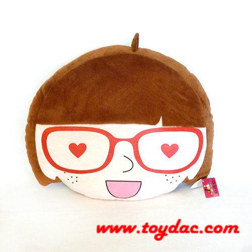 Plush Cartoon Doll Head Girl Cushion