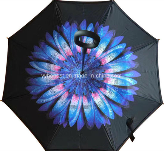 2017 New Style Double Layer Customized Print Reverse Inverted Umbrella