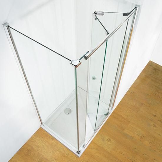 Corner Entry Sliding Framed Shower Enclosure and Square Shower Door