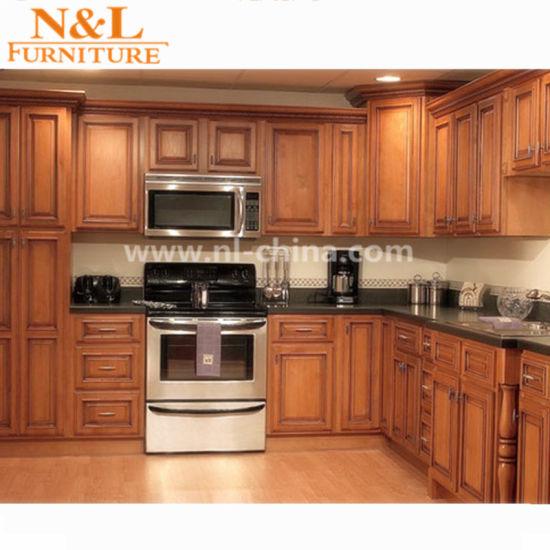 China American Style Solid Wood Kitchen Cabinet With Plywood Box