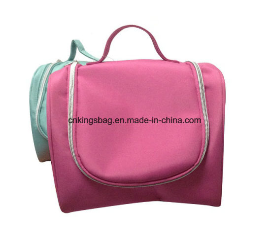 China Unisex Portable Microfiber Beauty Lady Toiletry Bag Pink