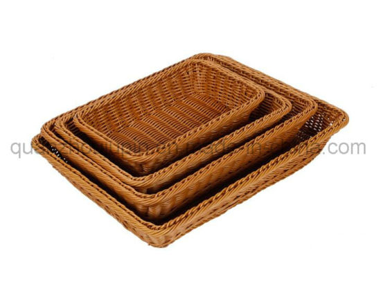 OEM Supermarket Home Plastic Rattan Bread Gift Fruit Basket pictures & photos