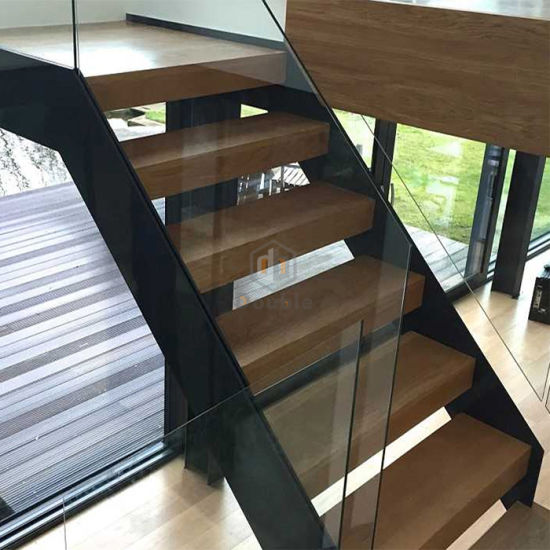 Step Ladder With Glass Railing / Wooden Staircase