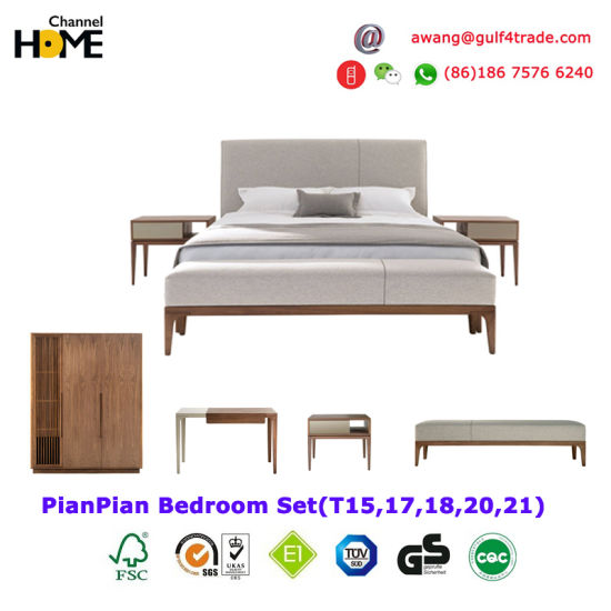 New Comfortable Harmonious and Modern Bedroom Bed Wardrobe (HC-T15) pictures & photos