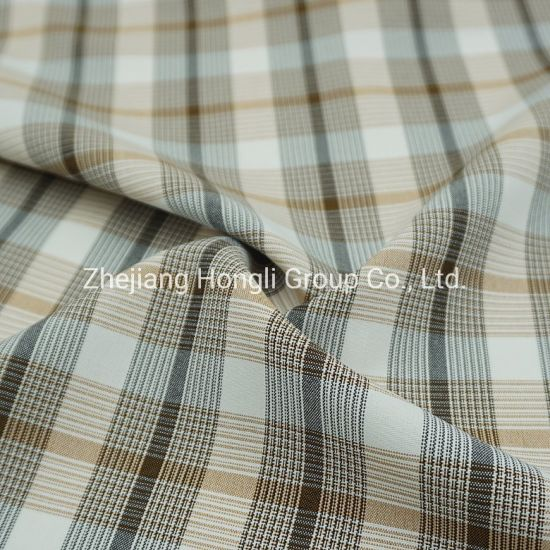 94%Polyester 6%Spandex Cationic Check Plaid Poly Span Fabric #20011