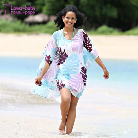 4b5ec6d835 2018 Latest Women Beach V-Neck Cover up Floral Print Chiffon Dress pictures    photos