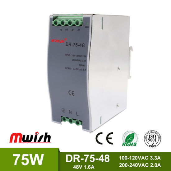 75W 48VDC1.6A DIN Rail Switching Power Supply with Ce RoHS