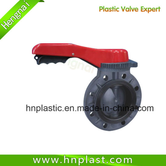 DIN ASTM JIS PVC Butterfly Valve Wafer Handle Wheel Type Plastic Valves