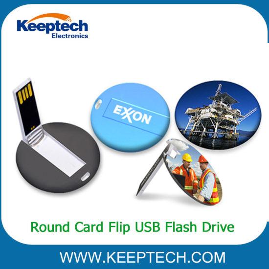 Round Card Flip USB Flash Drive Custom Logo 2GB 4GB 8GB 16GB 32GB