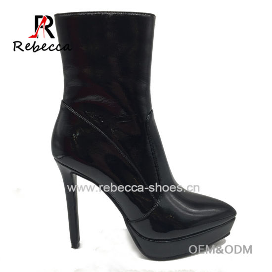 OEM Lady Boots Patent Leather Hademade Platform Round Toe Stilettos Heel Shoes Wholesale