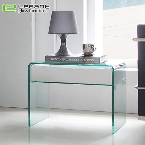 Curved Glass Night Table with Walnut Wood Veneer Drawers