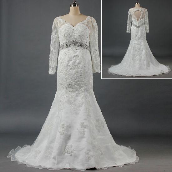 Luxury V Neck Keyhole Back Long Sleeve Wedding Dress Mermaid Lace Bridal Gown W089