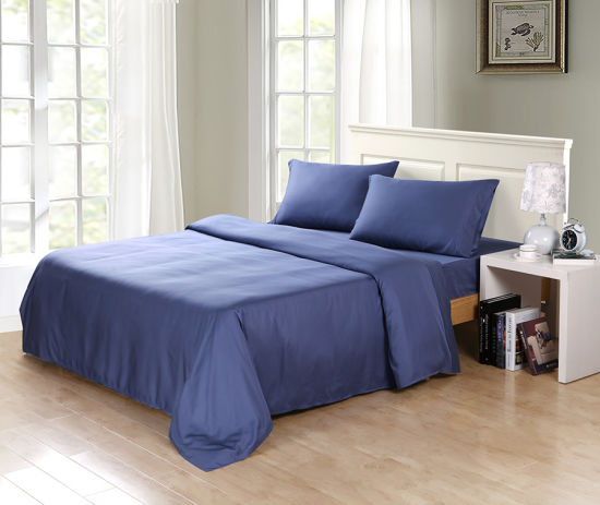 320tc 100% Natural Bamboo Fiber Bed Sheet Set Blue Color pictures & photos